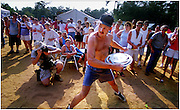 July 8, 2000; East Dublin, GA, USA; Henry Wilkerson of Kite, Ga. finished last Saturday, July 8, 2000 in the Hub Cap Hurling contest during the Fifth Annual Summer Redneck Games in East Dublin, Ga when his toss boomeranged back and landed a few feet away. The longest toss traveled nearly 50 feet for a first place prize. Photo by Stephen Morton/ZUMA Press.