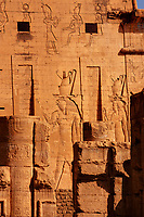 view of god Horus temple in Edfou in upper egypt