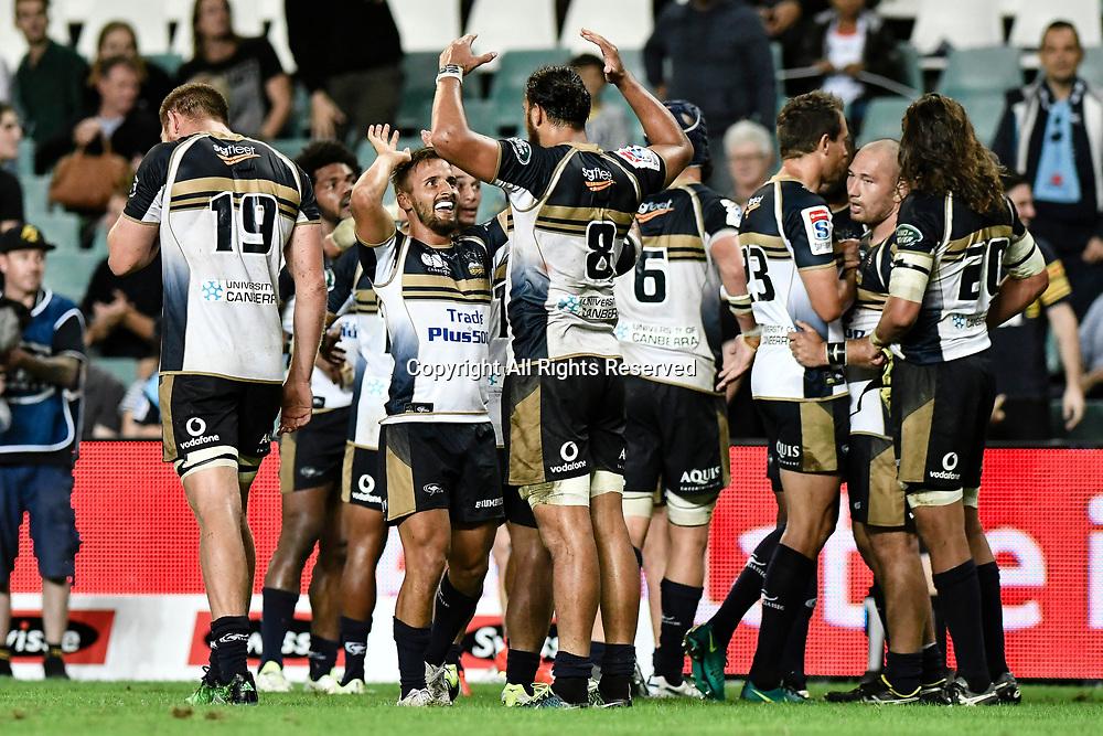 March 18th 2017, Allianz Stadium, Sydney, Australia; Super Rugby, Waratahs versus Brumbies; the Brumbies celebrate a convincing 28-12 win;