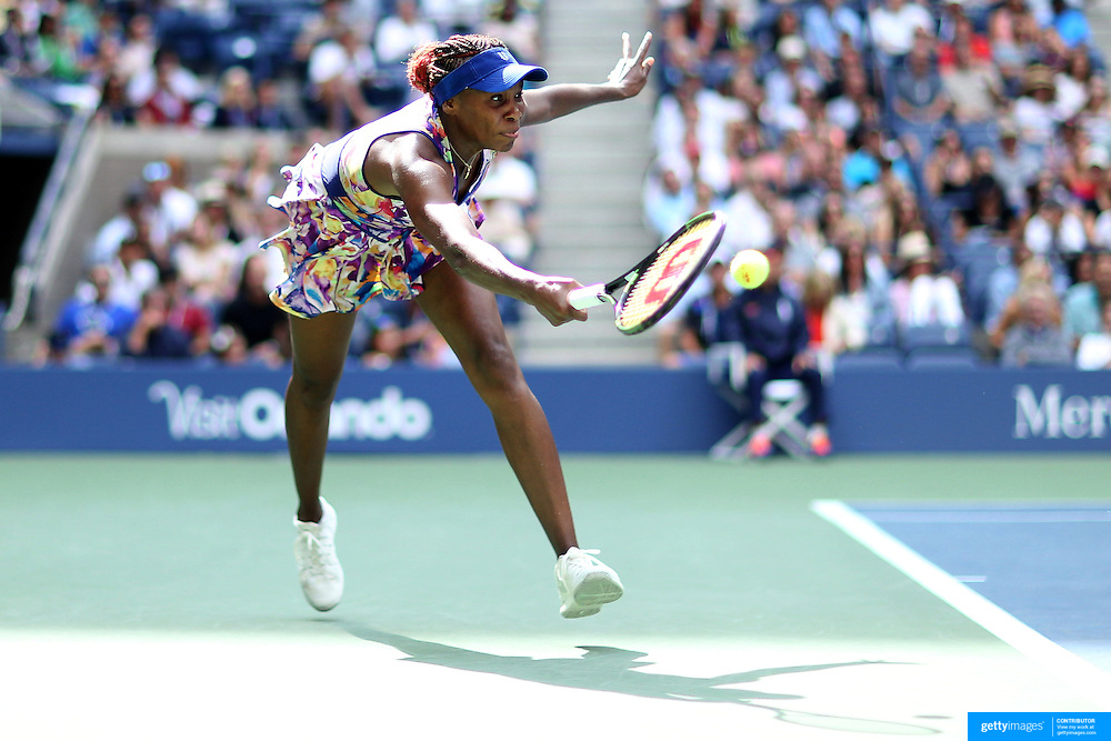 2016 U.S. Open - Day 8  Venus Williams of the United States in action against Karolina Pliskova of the Czech Republic  in the Women's Singles round four match on Arthur Ashe Stadium on day six of the 2016 US Open Tennis Tournament at the USTA Billie Jean King National Tennis Center on September 5, 2016 in Flushing, Queens, New York City.  (Photo by Tim Clayton/Corbis via Getty Images)