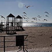 Coney Island, Brooklyn Beach in winter.