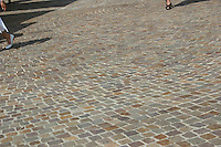 cobblestones in french village