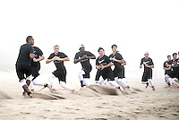 Beach workout at the 2016 The Elite 11 Finals in Los Angeles, CA.