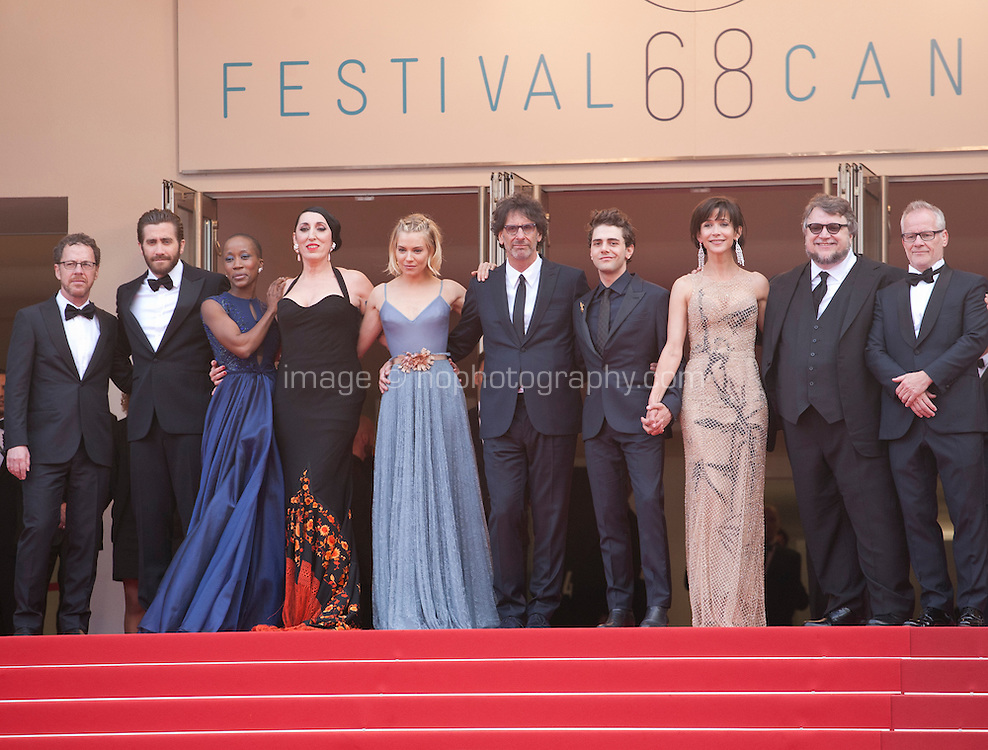 The official jury members on the red steps at the Closing ceremony and premiere of La Glace Et Le Ciel at the 68th Cannes Film Festival, Sunday 24th May 2015, Cannes, France.