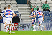 GOAL - Queens Park Rangers forward Tomer Hemed (16) on loan from Brighton & Hove Albion celebrates 1-0 during the EFL Sky Bet Championship match between Queens Park Rangers and Sheffield Wednesday at the Loftus Road Stadium, London, England on 23 October 2018.