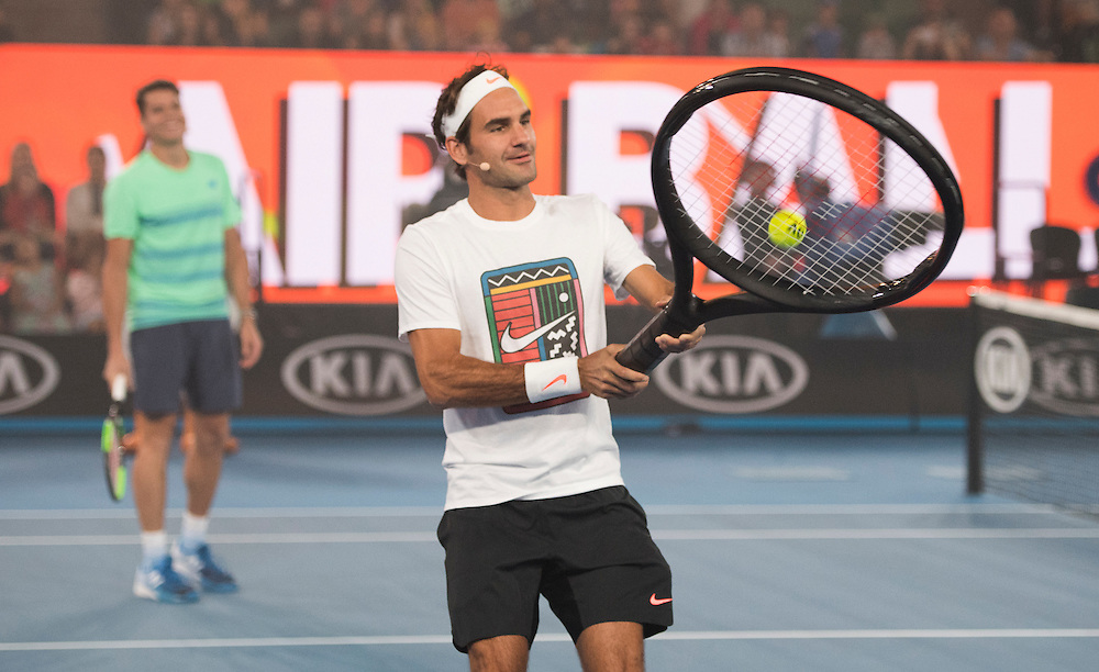 Roger Federer at Kids Day on Rod Laver Arena ahead of the 2017 Australian Open at Melbourne Park on January 14, 2017 in Melbourne, Australia.<br /> (Ben Solomon/Tennis Australia)