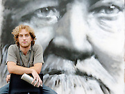 03-08-04.Grafitti Artist Philip Padfield--Andrew Carnegie portrait. AV3677. AJ