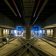 December 12, 2016 - New York, NY :  Train tracks crisscross as they wind through the Second Avenue subway tunnel just south of the 96th Street station. After years of delays, the new subway line is preparing to welcome its first straphangers. CREDIT: Karsten Moran for The New York Times