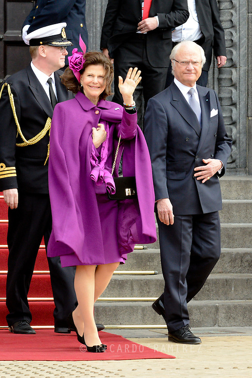 16.04.2015. Copenhagen, Denmark.<br /> Queen Silvia and King Carl XVI Gustaf of Sweden leaves the Town Hall after lunch during festivities for the 75th birthday of Queen Margrethe II of Denmark.<br /> Photo:© Ricardo Ramirez