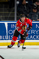 KELOWNA, CANADA - MARCH 3:  Jared Freadrich #27 of the Portland Winterhawks skates with the puck against the Kelowna Rockets on March 3, 2019 at Prospera Place in Kelowna, British Columbia, Canada.  (Photo by Marissa Baecker/Shoot the Breeze)