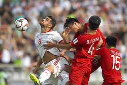 2019?1?12?.   ??????1???——D??????????.    1?12???????????·???????????????.    ??????????????2019???????D??????????????.    ????????..(SP)UAE-AL AIN-SOCCER-AFC ASIAN CUP 2019-GROUP D-VNM VS IRN..(190112) -- ABU DHABI, Jan. 12, 2019  Iran's Morteza Pouraliganji (L) heads for the ball during the 2019 AFC Asian Cup group D match between Vietnam and Iran at the Al Nahyan Stadium in Abu Dhabi, the United Arab Emirates, Jan. 12, 2019. (Credit Image: © Xinhua via ZUMA Wire)