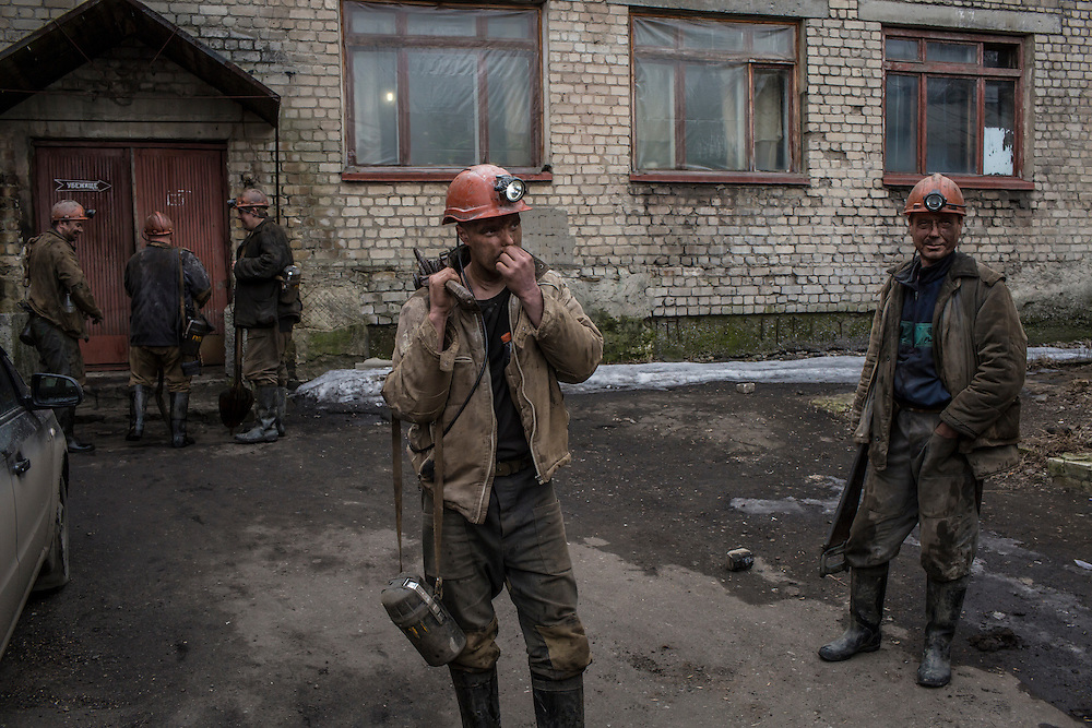 Miners at the end of their shift at the Zolote Coal Mine on Tuesday, February 9, 2016 in Zolote, Ukraine. The mine is one of the oldest in the region, having first opened in 1905.