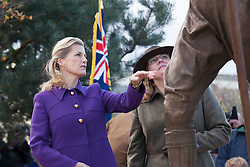 © Licensed to London News Pictures.21/10/2014. National Memorial Arboretum, Alrewas, Staffordshire, UK. Dedication of the Women's Land Army and Women's Timber Corps memorial at the National Memorial Arboretum in the presence of HRH The Countess of Wessex. Photo credit : Dave Warren/LNP