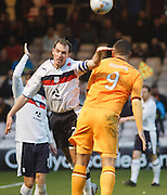 Dundee's Gary Irvine  and Motherwell's Michael Higdon - Motherwell v Dundee at Fir Park in the Clydesdale Bank Scottish Premier League.. - © David Young - www.davidyoungphoto.co.uk - email: davidyoungphoto@gmail.com