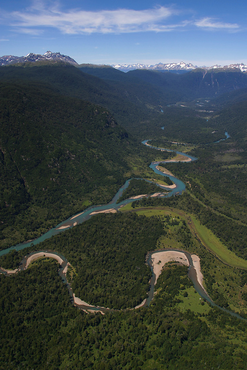 A river feeds in to Lago Caro in the Aisen region of Chilean Patagonia, Feb. 4, 2004. Daniel Beltra/Greenpeace.