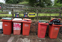Public bins provided by Biffa for recycling waste