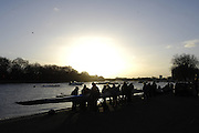 Putney, GREAT BRITAIN, General views on the River Thames.  Women's Head of the River race  01/03/2008  2008. [Mandatory Credit, Peter Spurrier/Intersport-images] Rowing Course: River Thames, Championship course, Putney to Mortlake 4.25 Miles, , Sunrise, Sunsets, Silhouettes