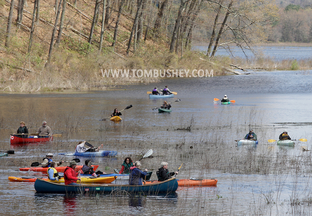 Mamakating, New York - Kayakers and canoists paddle through the waters of the Bashakill Wildlife Management Area during an outing organized by the Basha Kill Area Association on April 30, 2011.