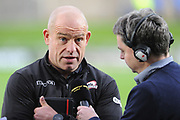 Richard Cockerill being interviewed ahead of the Guinness Pro 14 2017_18 match between Edinburgh Rugby and Benetton Treviso at Myreside Stadium, Edinburgh, Scotland on 15 September 2017. Photo by Kevin Murray.