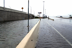 (170828) -- HOUSTON, Aug. 28, 2017 (Xinhua) -- Flood inundates the state freeway 59 in Houston, Texas, the United States, Aug. 27, 2017. Widespread and worsening flood conditions prompted the closure of nearly every major road in Houston as the outer bands of Hurricane Harvey swept through the Houston area over the weekend. Latest news reports said the storm death toll has climbed to at least 5. (Xinhua/Zhong Jia) (zjl)  (Photo by Xinhua/Sipa USA)