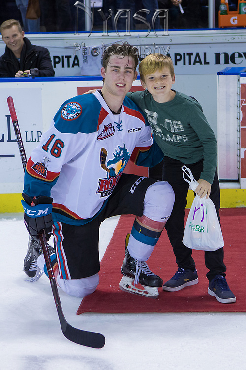 KELOWNA, CANADA - FEBRUARY 02:  Third Star of the Game Kole Lind #16 of the Kelowna Rockets at the Kelowna Rockets game on February 02, 2018 at Prospera Place in Kelowna, British Columbia, Canada.  (Photo By Cindy Rogers/Nyasa Photography,  *** Local Caption ***