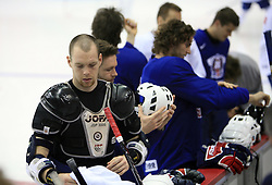 Andrej Tavzelj dressing up at practice of Slovenian national team at Hockey IIHF WC 2008 in Halifax,  on May 04, 2008 in Metro Center, Halifax, Canada.  (Photo by Vid Ponikvar / Sportal Images)