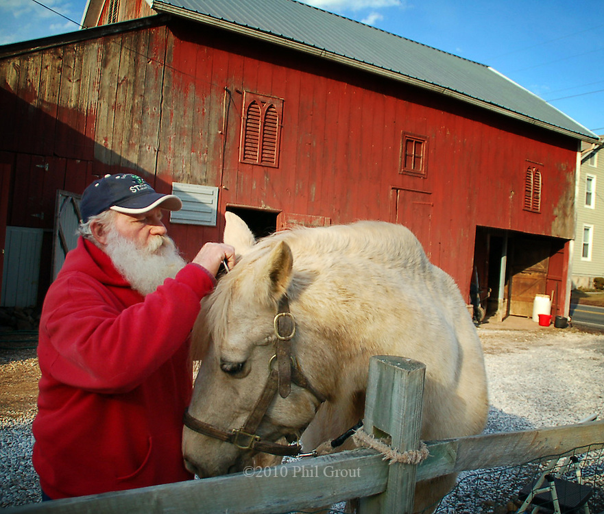 """Bill Hoy and """"Moonlight"""" have a fondness for eachother which.comes out as Bill grooms his horse along the """"main drag"""" of.Harney, the Harney Road which is just down the road from Gettysburg.. Bill says the house he and his wife, Virginia, bought 20 years ago was .built in 1786 and is believed to have been used for temporary headquaters of the Union Army prior to the Battle of Gettysburg."""
