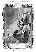 Angel of the Lord appearing to Elijah on the mountain and telling him not to be afraid and to go down to the king. 'Bible' II Kings I:15. Copperplate engraving 1804