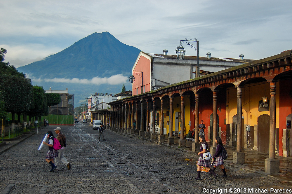 School girls walk home, just off the Central Park of Antigua Guatemala