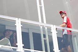 23.07.2015, Hungaroring, Budapest, HUN, FIA, Formel 1, Grand Prix von Ungarn, Vorberichte, im Bild Sebastian Vettel (Scuderia Ferrari) auf dem Dach des Team Motorhome // during the preperation of the Hungarian Formula One Grand Prix at the Hungaroring in Budapest, Hungary on 2015/07/23. EXPA Pictures © 2015, PhotoCredit: EXPA/ Eibner-Pressefoto/ Bermel<br /> <br /> *****ATTENTION - OUT of GER*****