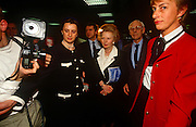 Ex-British Prime Minister Margaret Thatcher with husband Dennis leaving 1992 Tory party conference.