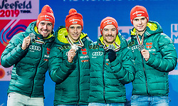 02.03.2019, Seefeld, AUT, FIS Weltmeisterschaften Ski Nordisch, Seefeld 2019, Siegerehrung, im Bild Silbermedaillengewinner Vinzenz Geiger (GER), Eric Frenzel (GER), Johannes Rydzek (GER), Fabian Riessle (GER) // Silver medalist Vinzenz Geiger Eric Frenzel Johannes Rydzek Fabian Riessle of Germany during the winner Ceremony for the FIS Nordic Ski World Championships 2019. Seefeld, Austria on 2019/03/02. EXPA Pictures © 2019, PhotoCredit: EXPA/ Stefan Adelsberger