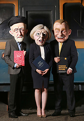 EDITORIAL USE ONLY Three actors, portraying Jeremy Corbyn, Theresa May and Tim Farron, at a new general election themed attraction called 'Poll-tergeist', which is an addition to Derren BrownÕs Ghost Train: Rise of the Demon attraction at Thorpe Park Resort in Surrey, aimed at encouraging young people to get involved with the vote.