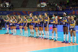 June 14, 2018 - Naples, Italy - Match Volley Female BRAZIL vs. ITALY.FIVB Volleyball Nations League-Women 2018 in Eboli/Salerno /Southern Italy .Final result ITALY  vs. BRAZIL 3-2.22-25;25-20;17-25;25-19;15-12.In photo team of ITALY (Credit Image: © Salvatore Esposito/Pacific Press via ZUMA Wire)