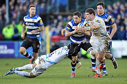 Horacio Agulla of Bath Rugby takes on the Chiefs defence - Photo mandatory by-line: Patrick Khachfe/JMP - Mobile: 07966 386802 27/12/2014 - SPORT - RUGBY UNION - Bath - Recreation Ground - Bath Rugby v Exeter Chiefs - Aviva Premiership