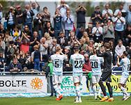 FC Helsingørs spillere klapper til fans før kampen i NordicBet Ligaen mellem FC Helsingør og Lyngby Boldklub den 25. maj 2019 på Helsingør Stadion. (Foto: Claus Birch / ClausBirchDK Sportsfoto).