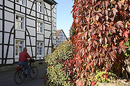 DEU, Germany, Ruhr area, Herdecke, house at the Kampstreet, autumn leaves.....DEU, Deutschland, Ruhrgebiet, Herdecke, Haus an der Kampstrasse, Herbstlaub...[For each usage of my images the General Terms and Conditions are mandatory.]