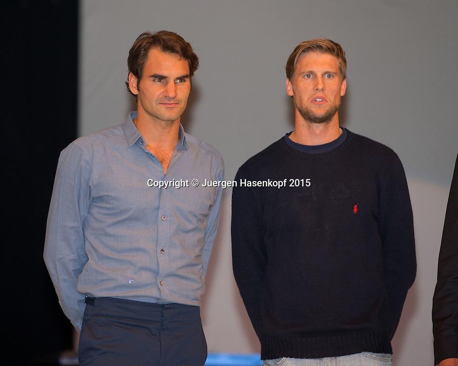 Gerry Weber Open Fashion Night, Finalgegner Roger Federer und Andreas Seppi stehen auf der B&uuml;hne,<br /> <br /> Tennis - Gerry Weber Open - ATP 500 -  Gerry Weber Stadion - Halle / Westf. - Nordrhein Westfalen - Germany  - 20 June 2015. <br /> &copy; Juergen Hasenkopf