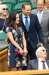 © Licensed to London News Pictures. 06/07/2018. London, UK. Angela Garcia, Sergio Garcia arrive in the Royal Box to watch centre court tennis the fifth day of the Wimbledon Tennis Championships 2018 held at the All England Lawn Tennis and Croquet Club. Photo credit: Ray Tang/LNP