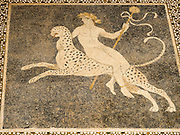 Ancient Greek hunting scene mosaic from Thessaly, Greece