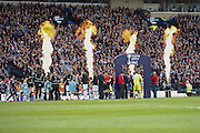 Flames as teas arrive during the Scottish League Cup Final match between Hibernian and Ross County at Hampden Park, Glasgow, United Kingdom on 13 March 2016. Photo by Craig McAllister.
