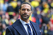 Rio Ferdinand during the The FA Cup match between Crystal Palace and Watford at Wembley Stadium, London, England on 24 April 2016. Photo by Shane Healey.