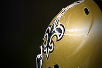 28 November 2011: A New Orleans Saints helmet against the New York Giants during the second half of the Saints 49-24 victory over the Giants at the Mercedes-Benz Superdome in New Orleans, LA.