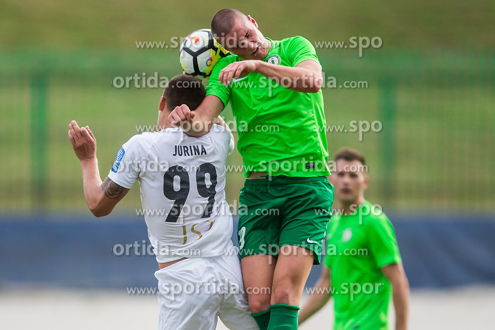 Marin Jurina of NK Krsko vs France Frelih of ND Ilirija during football match between ND Ilirija 1911 and NK Krsko in 1st Round of Slovenian Football Cup 2017/18, on August 16, 2017 in Stadium Ilirija, Ljubljana, Slovenia. Photo by Vid Ponikvar / Sportida