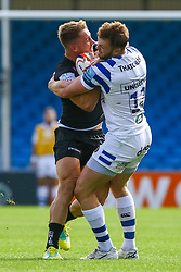 Sam Hill is challenged by Max Wright - Ryan Hiscott/JMP - 09/09/2018 - RUGBY - Sandy Park - Exeter, England - Exeter Braves v Bath United, Premiership Rugby Shield