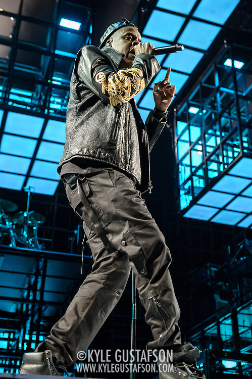 WASHINGTON, DC - January 16th, 2014 - Jay Z performs at the Verizon Center in Washington, D.C. as part of his Magna Carter World Tour. Jay Z's latest album, Magna Carter…Holy Grail was released by a mobile phone app in conjunction with Samsung and debuted at #1 on the Billboard 200 album charts.  (Photo by Kyle Gustafson /  For The Washington Post)