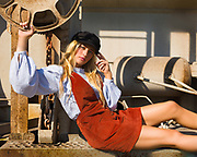 Model Savannah O'Hara on back of hopper car by Gerard Harrison, photographer, Image Theory Photoworks
