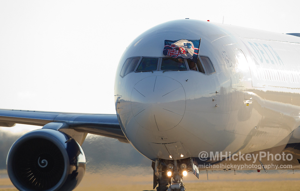 Jan. 29, 2012; Indianapolis, IN, USA; The plane carrying the New England Patriots arrives at Indianapolis International Airport. Mandatory credit: Michael Hickey-US PRESSWIRE
