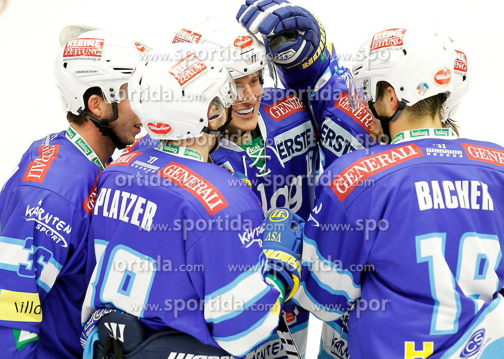 30.10.2012, Stadthalle, Villach, AUT, EBEL, EC VSV vs HC TWK Innsbruck, 17. Runde, im Bild der Jubel von Marco Pewal (VSV,#36), Patrick Platzer (VSV,#39), Daniel Nageler (VSV,#16), und Stefan Bacher (VSV,#19) // during the Erste Bank Icehockey League 17th Round match between EC VSV vs HC TWK Innsbruck at the City Hall, Villach, Austria, 2012/10/30, EXPA Pictures © 2012, PhotoCredit: EXPA/ Oskar Hoeher