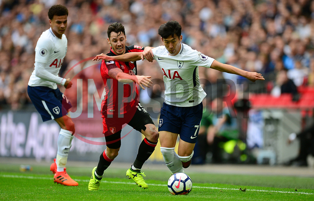 Son Heung-Min of Tottenham Hotspur Battles for the ball with Adam Smith of Bournemouth - Mandatory by-line: Alex James/JMP - 14/10/2017 - FOOTBALL - Wembley Stadium - London, England - Tottenham Hotspur v AFC Bournemouth - Premier League